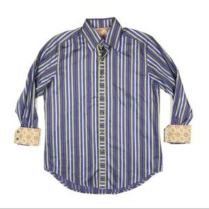 Robert Graham Mens Striped Button Down Shirt Large
